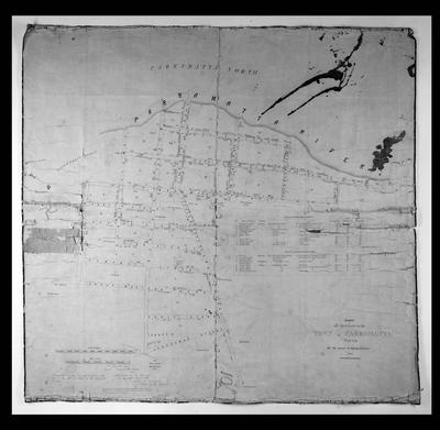 """Parramatta Map: """"Survey of all the streets in the Town of Parramatta South for the purpose of aligning the same 1855"""""""