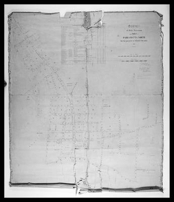"""Parramatta Map: """"Survey of all the streets in the Town of Parramatta North for the purpose of aligning the same 1855"""""""