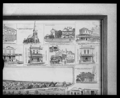 """The Advocate Newspaper - Supplement to the """"Cumberland Mercury"""", """"Taken from the Parramatta May's Hill"""" Detail of illustration framed"""