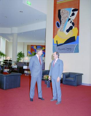 Parkroyal Hotel, Interior lobby, the General Manager Peter Christian and John Brown Minister for Sport, Recreation and Tourism are standing