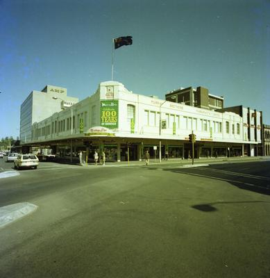 Murray Brothers Store, view of the building façade with a banner celebrating 100 years of service