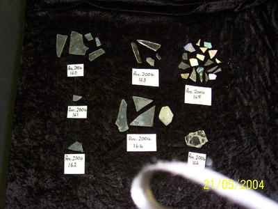 Five (5) glass fragments