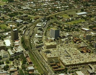 Aerial View of Parramatta train station and intersection of Church  and Argyle Streets