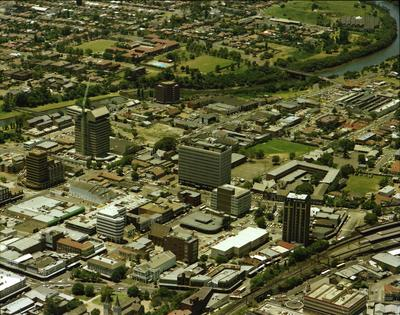Aerial view of Parramatta City centre from West to East.