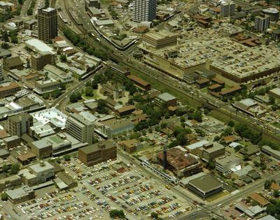 Aerial view of Parramatta City Centre from O'Connell Street to Smith Street.