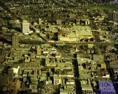 Aerial view of Parramatta city from North to south