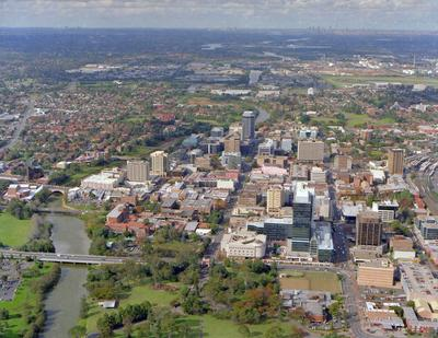 Parramatta City Centre, Aerial Photo from West to East