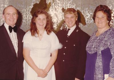 Parramatta Mayoral Ball 1976 : Portrait of debutant, companion and a couple
