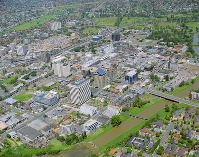 Aerial photograph of Parramatta City Centre taken from West to East, river in foreground