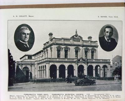 "Reproduction from ""Historic Parramatta, The Cradle of Australia"" : ""Parramatta Town Hall, Parramatta Municipal Council, 1928"""