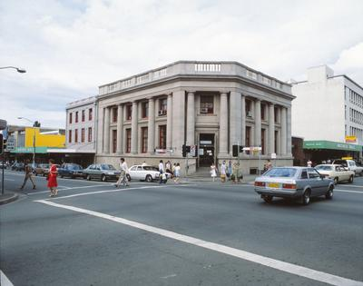 Intersection of George and Church Streets with Westpac building in the background