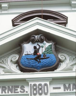 "Parramatta Town Hall, detail of Parramatta coat of arms and inscription :  ""C. J. Byrnes. 1880 - Mayor"""