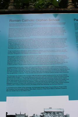 Roman Catholic Orphan School information sign