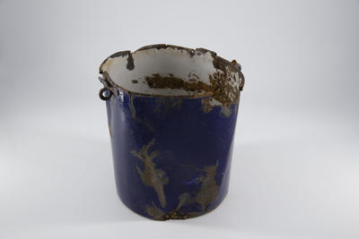 Blue enamelled billy cup