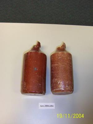 "2 glazed stoneware/ceramic bottles, one with mark: ""Field & Sons Potters, Sydney"""