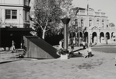 Church Street Mall Sculpture, with Parramatta Town Hall in the background, ca. 1980s