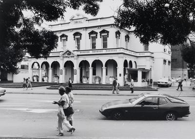 Parramatta Town Hall, view of front and left exterior of two storey building from across Church Street, ca. 1980s