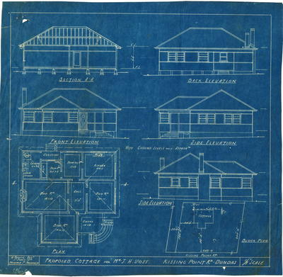 Building application and plan, proposed residence. J Henry Voss Portion 7, Part 7 Kissing Point Road Dundas