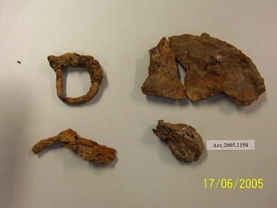 Various metal fragments including a D ring, can lid and nail