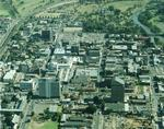 Aerial view of Parramatta City centre towards the west with Parramatta Park is in the background